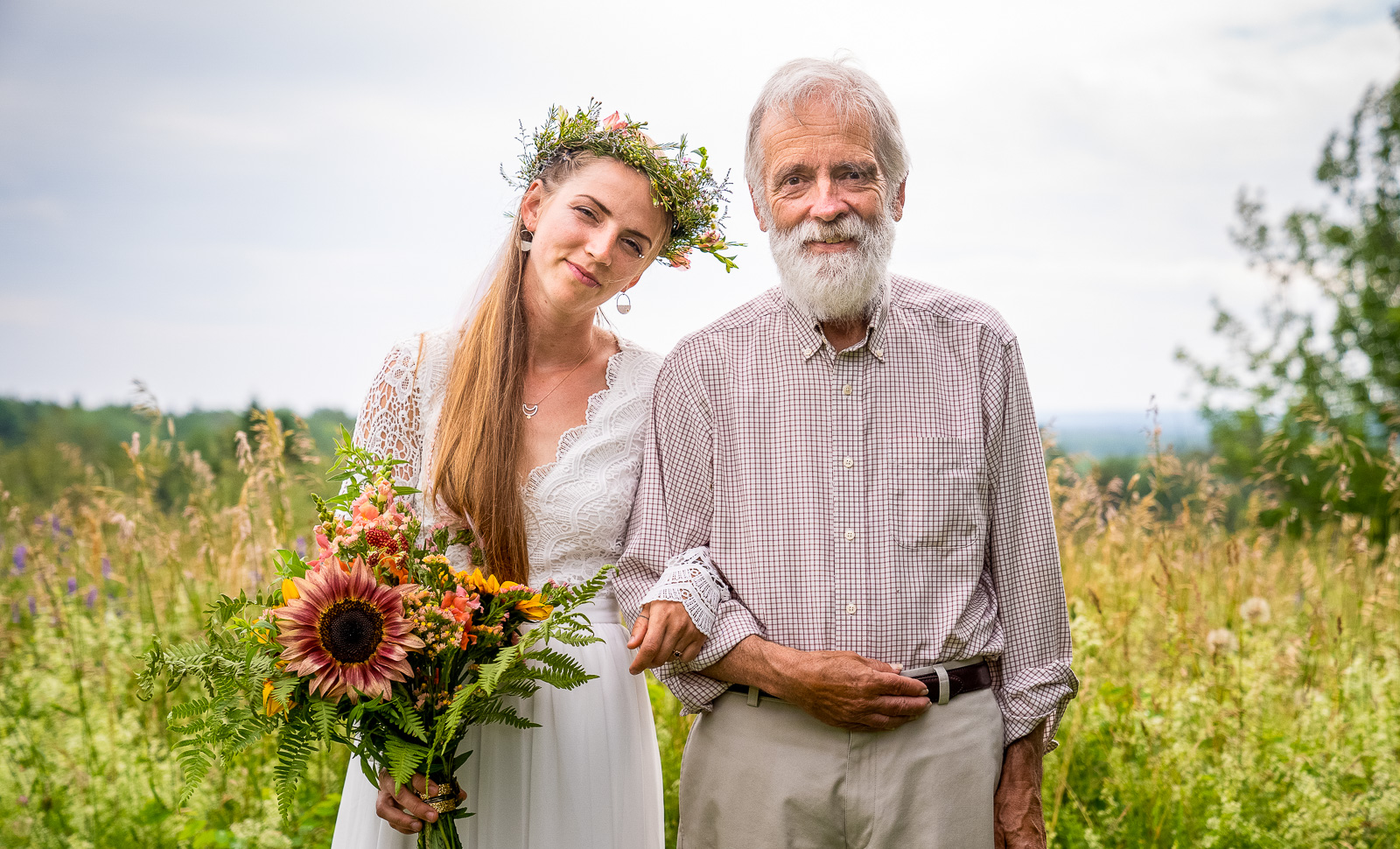 Bride and father in Acadia