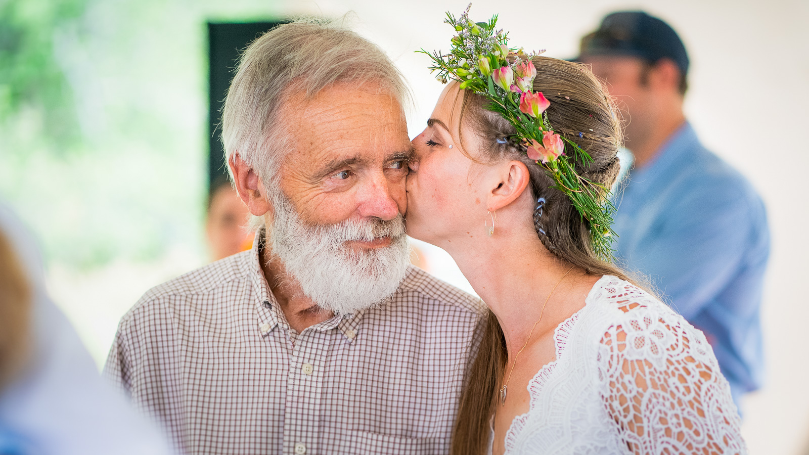 Bride kissing dad