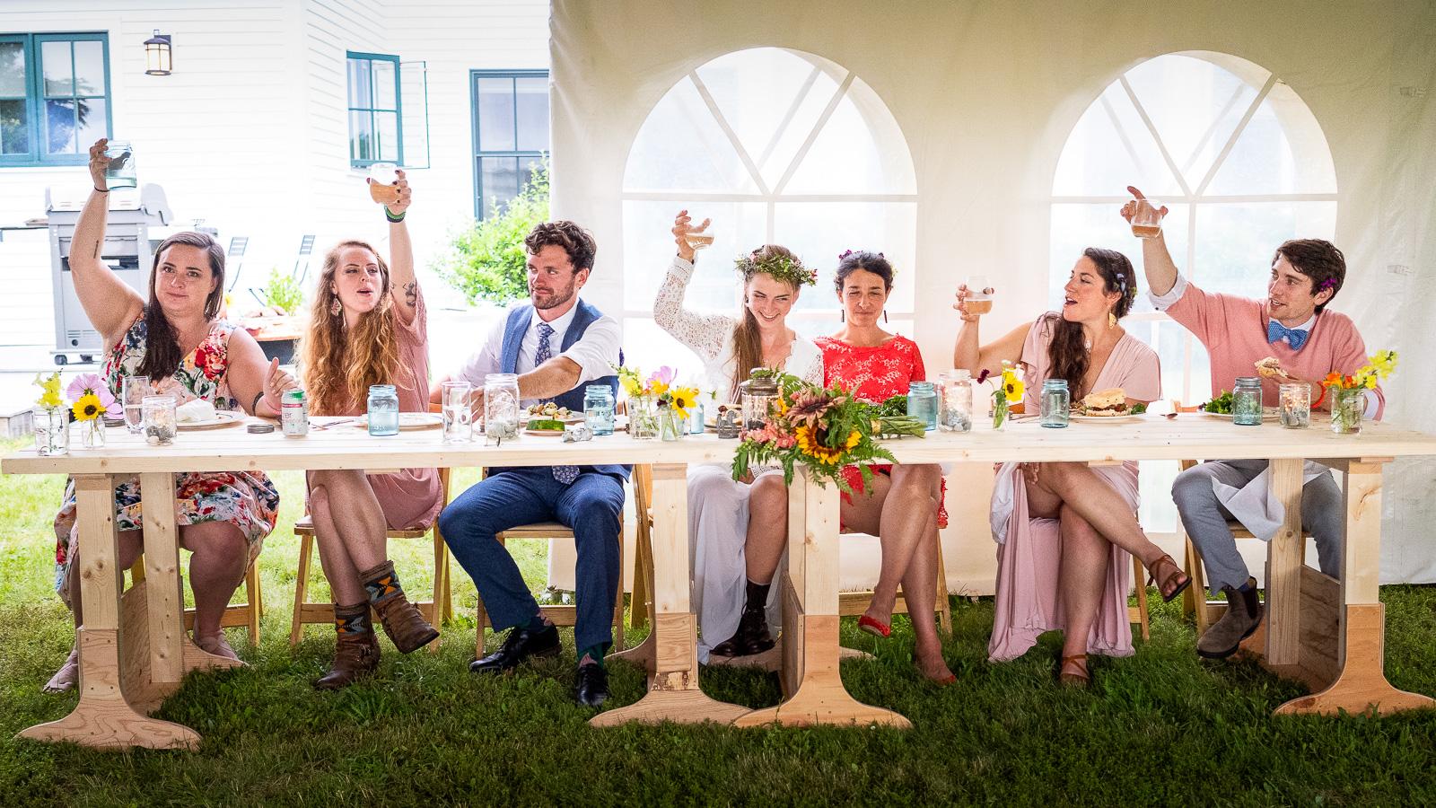 Backyard head table wedding