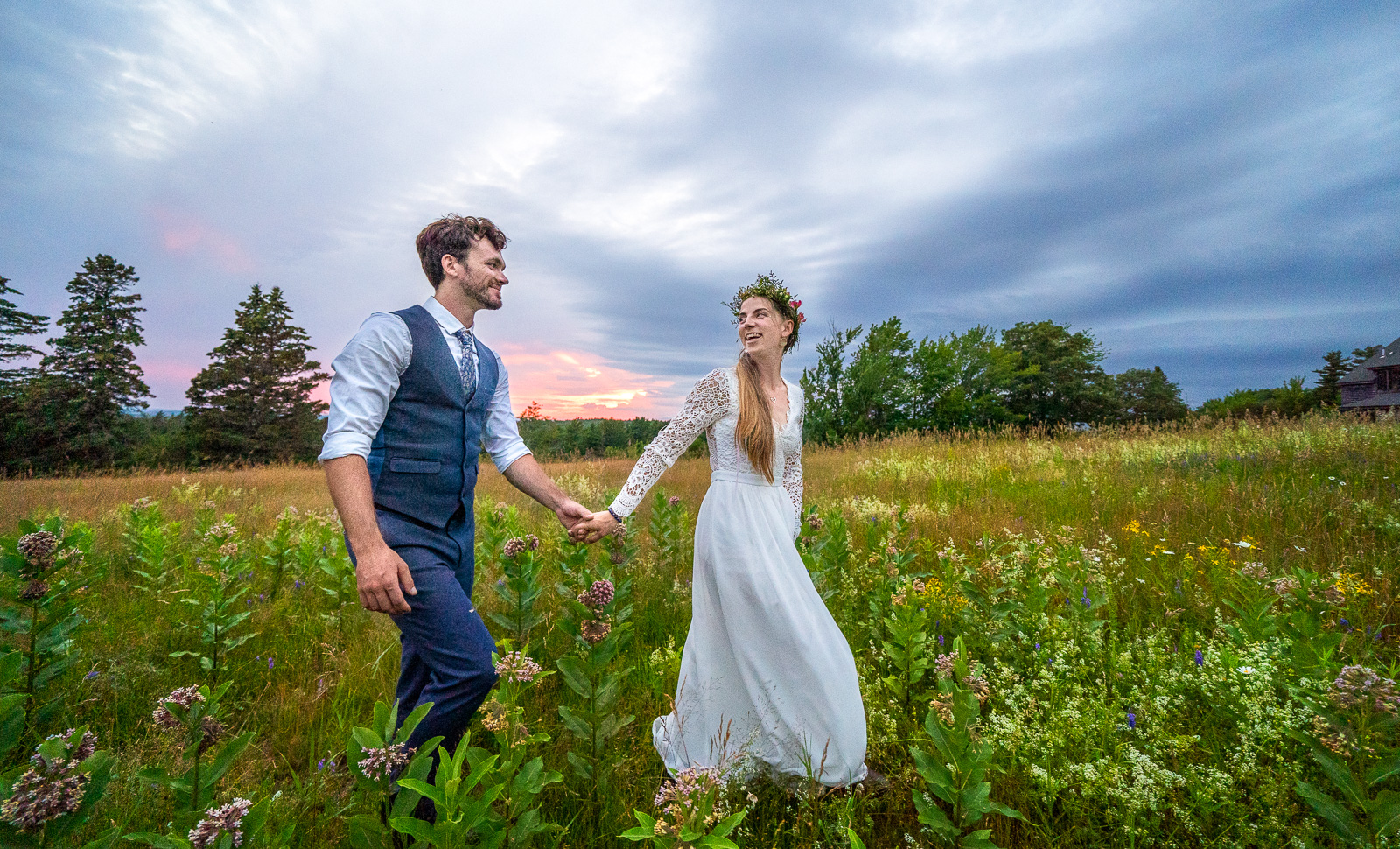 Bride and groom outdoor Acadia wedding