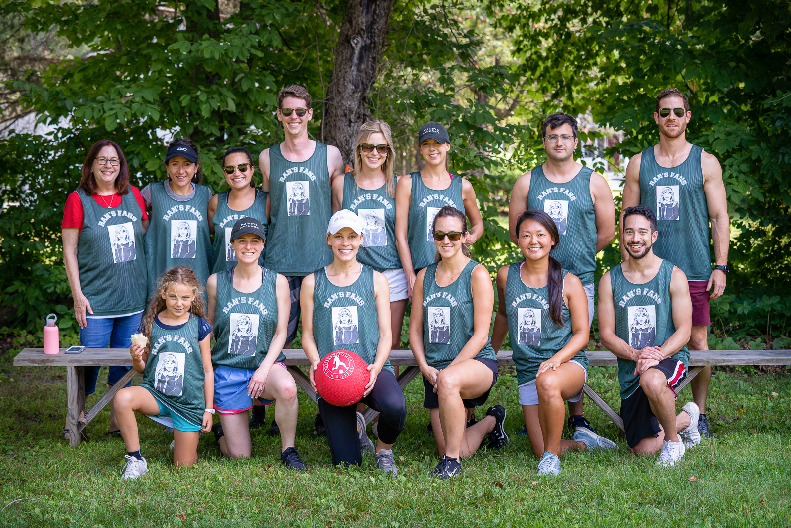 Brides wedding kickball team
