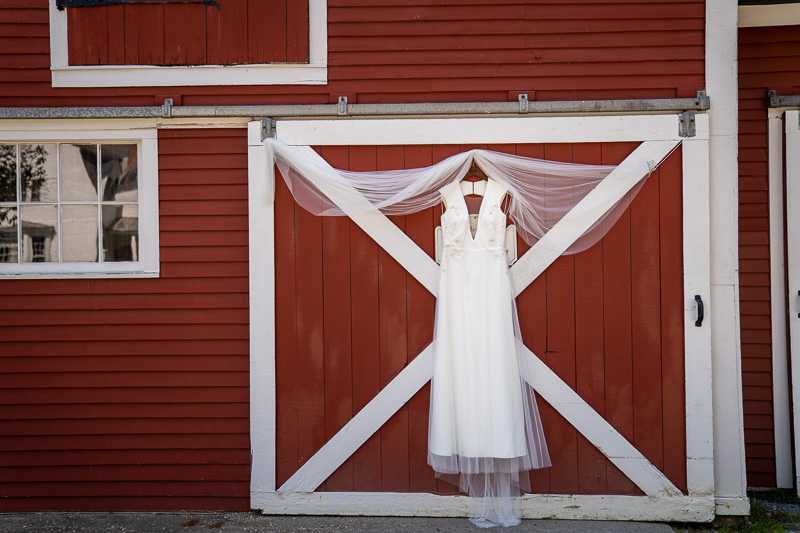 Wedding dress on barn at Grafton Inn