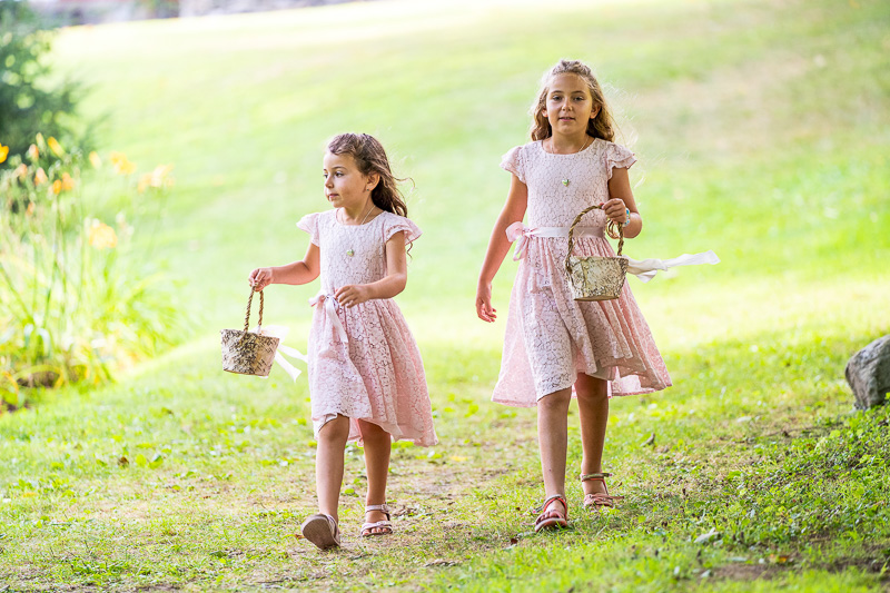 Flower girls walking