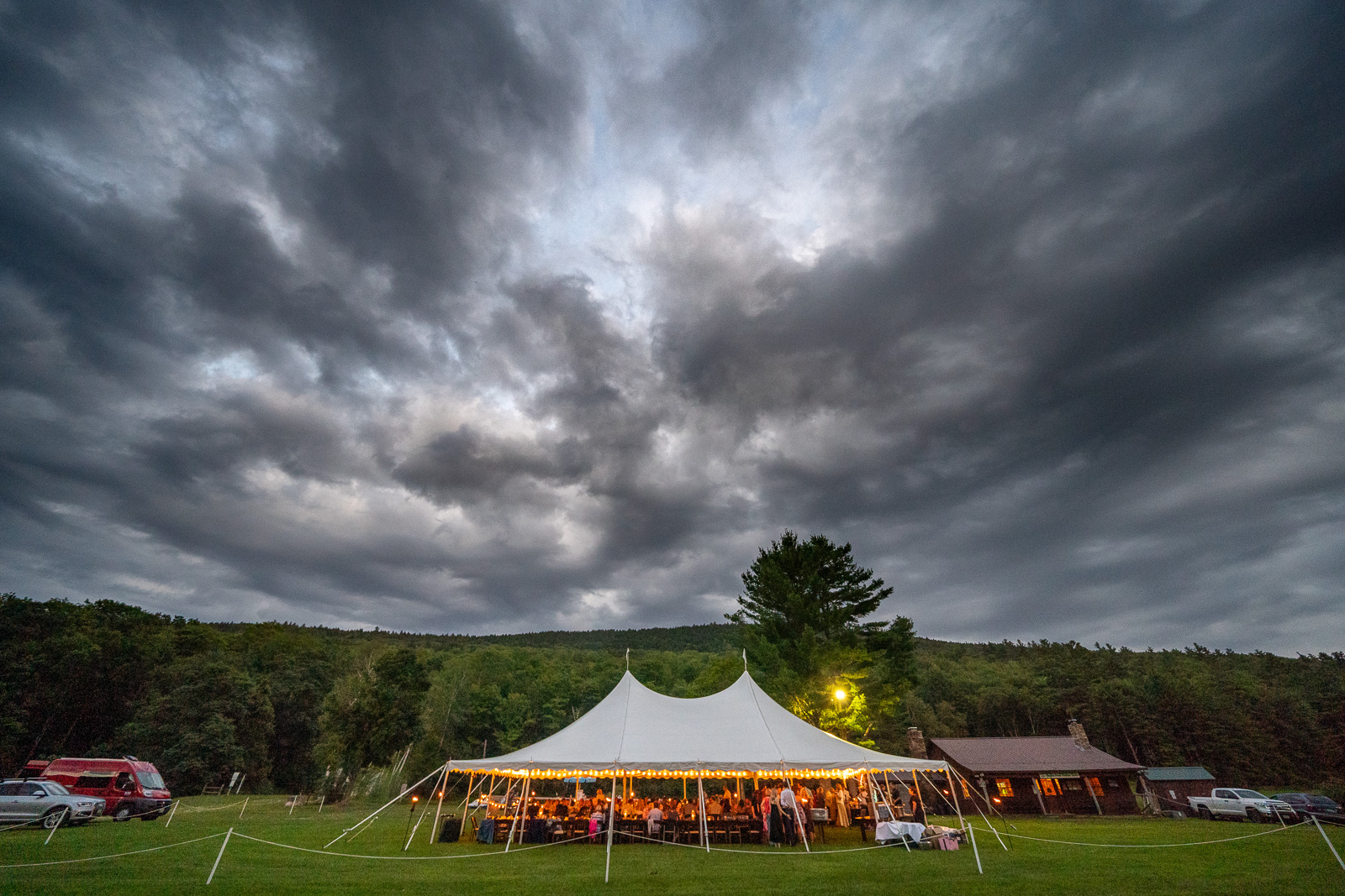 Moody sky over wedding tent