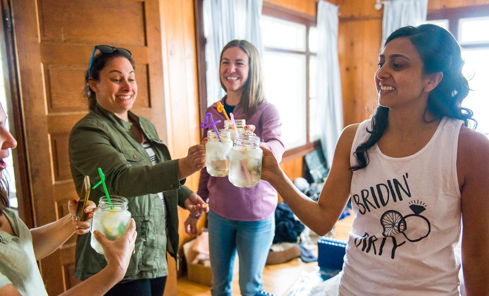 Bride toasting bridesmaids
