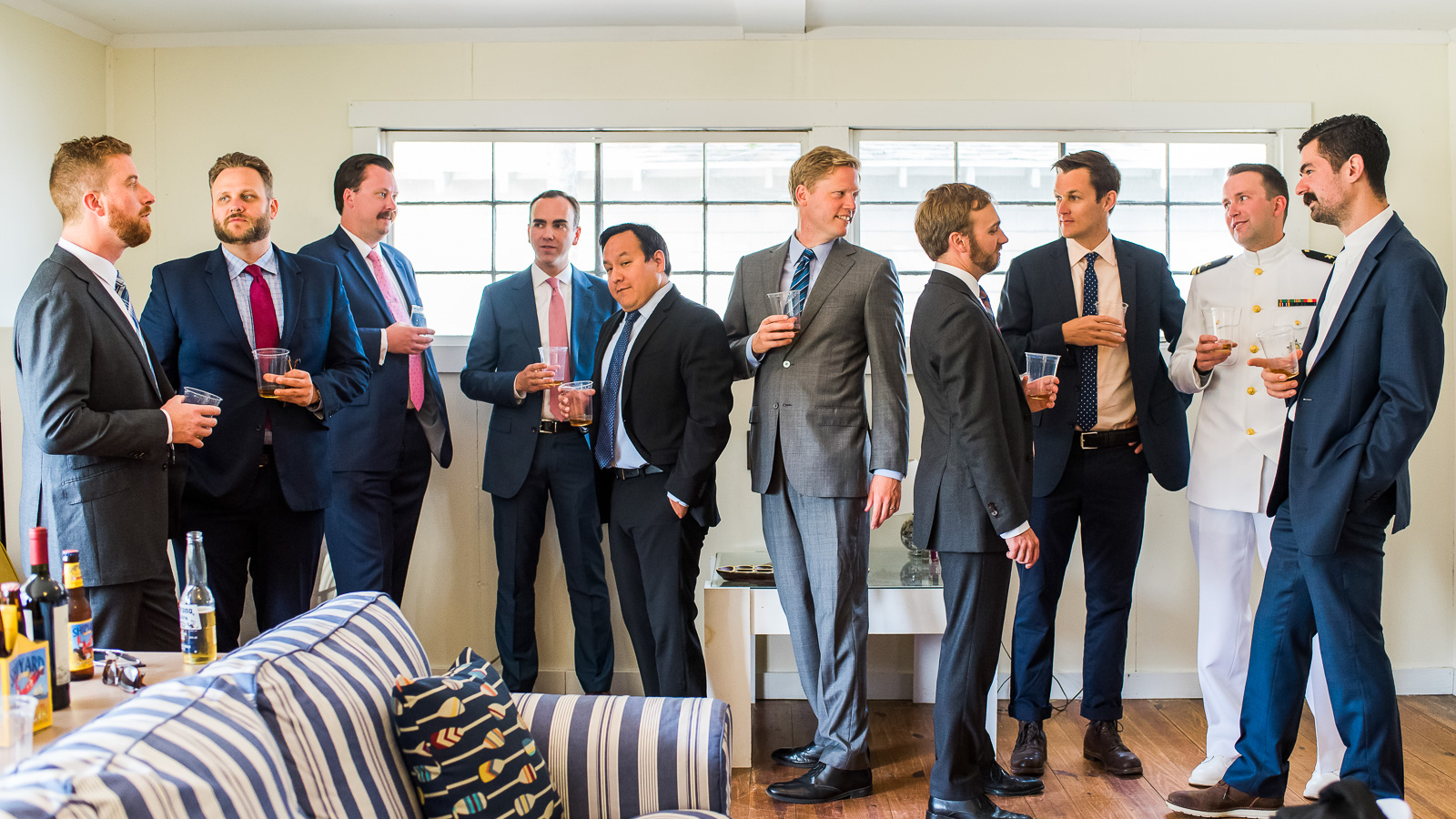 candid wedding photo groomsmen