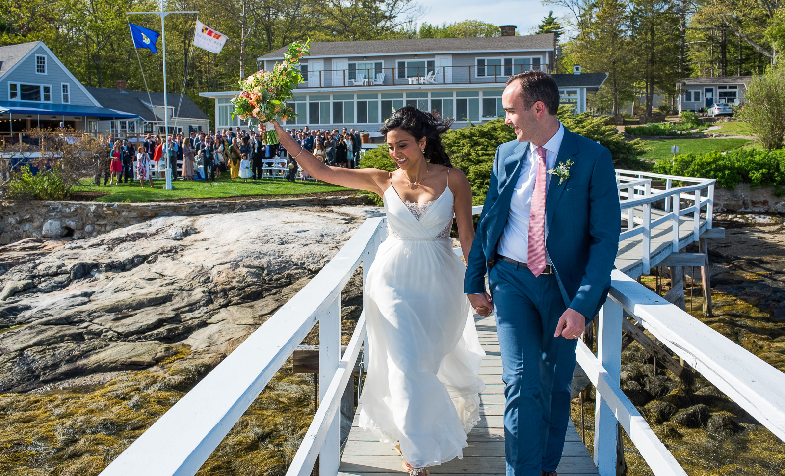 Coastal bride and groom