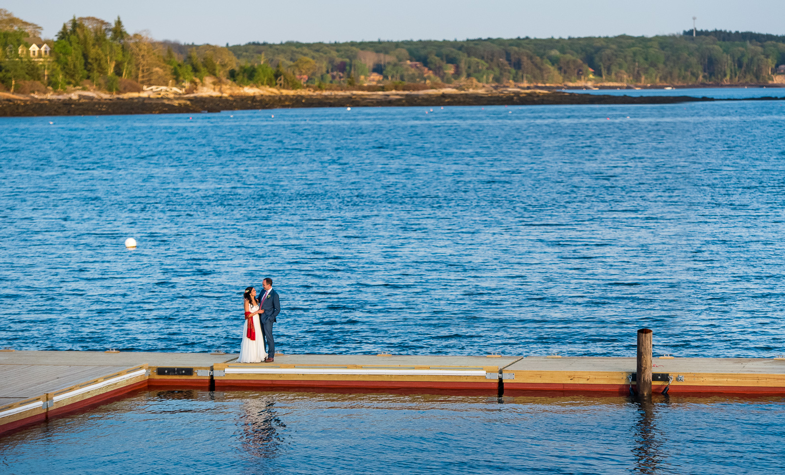 Bride groom on dock