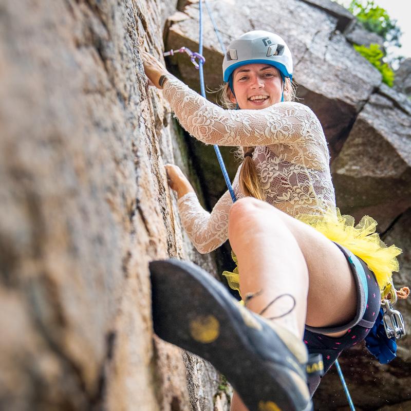 Rock climbing bride